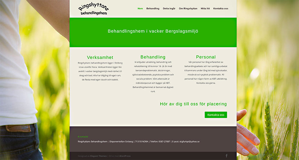 Ny webbsida för Ringshyttans behandlingshem