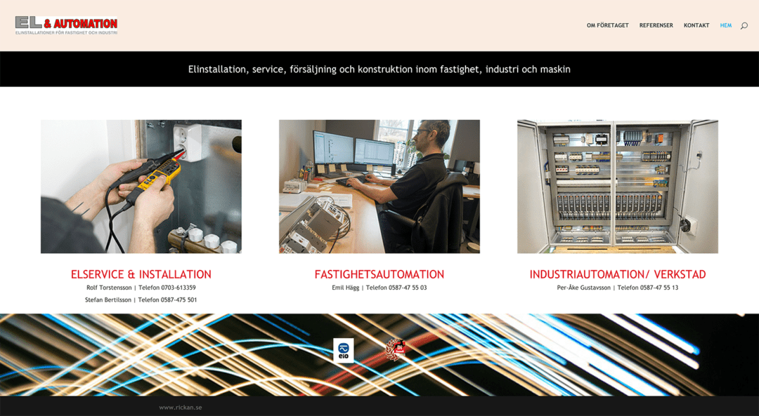 Ny webbsida för El & Automation i Nora AB