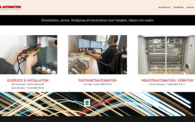 Webbsidan för El & Automation i Nora är sjösatt