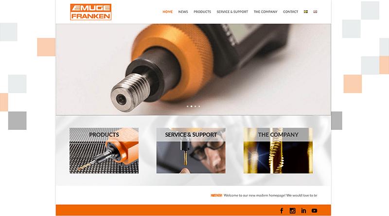 Webbsida för Emuge-Franken AB