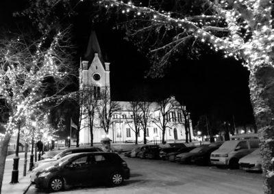 Nora kyrka på vintern