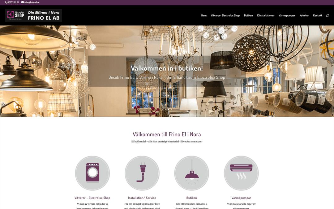Webbsida för elföretag och Electrolux shop