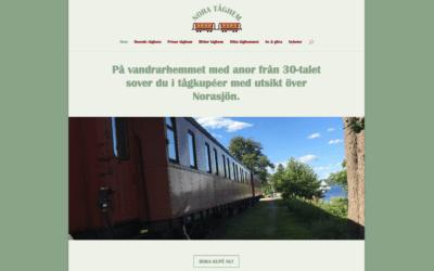 Webbsida för vandrarhem, på räls