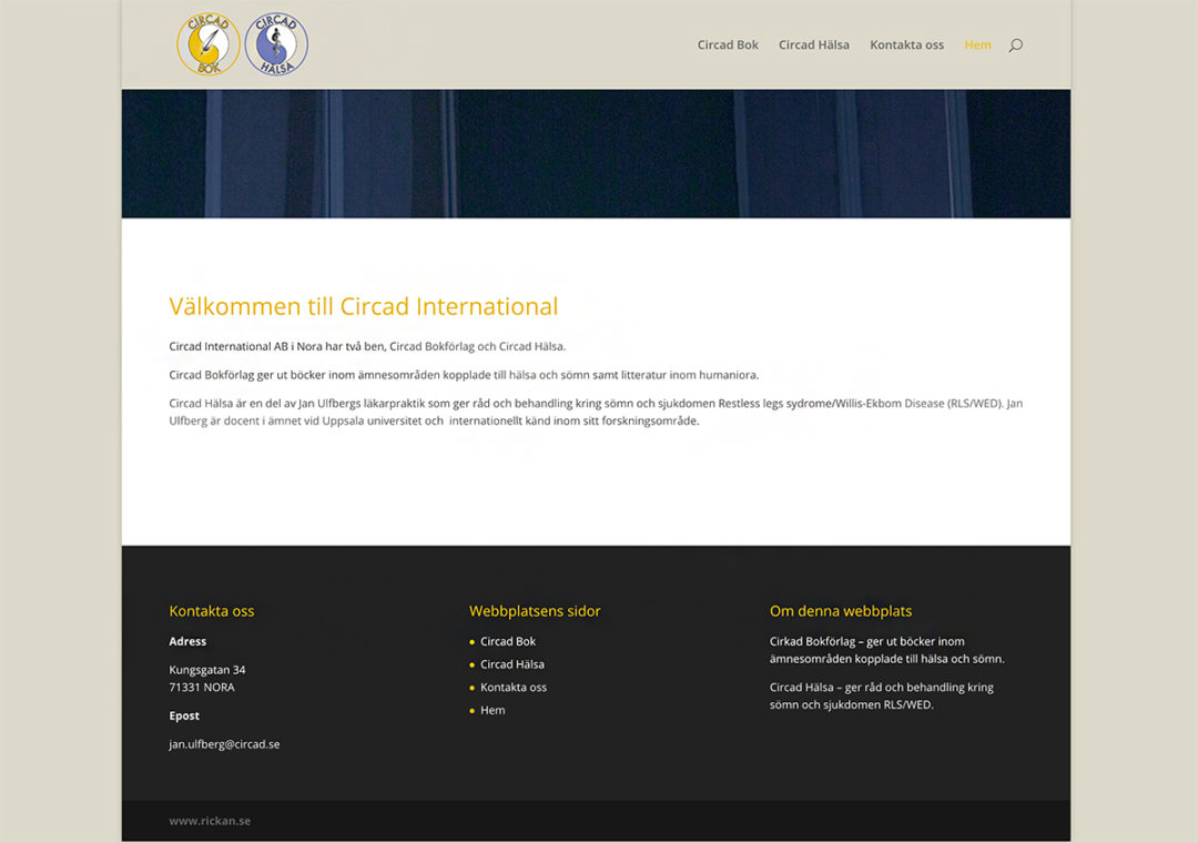 Webbsida för Circad International