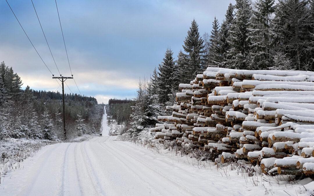 Vinterväg i Sverige.